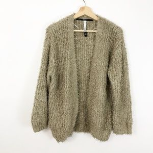 Kensie Fuzzy Soft Cardigan Cozy Sweater Tan Medium